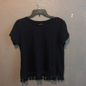 Navy Blue Blouse With tassels